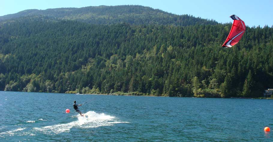 Cultus Lake BC - Kiteboarding in the wind.